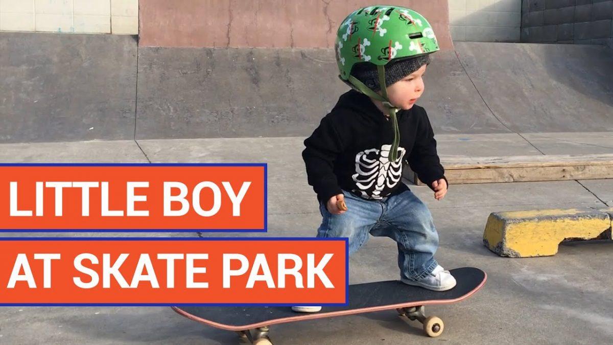 Amazing Little Boy Rides Skateboard
